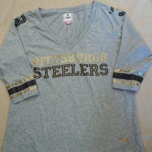 Women's Pink Victoria's Secret Steelers Shirt Top